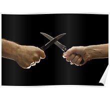 Man and woman fighting with domestic knives Poster