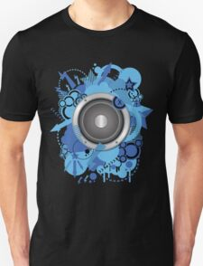 Retro Grunge with Speaker Blue Unisex T-Shirt