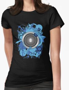 Retro Grunge with Speaker Blue Womens Fitted T-Shirt
