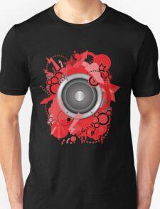 Retro Grunge with Speaker Red Unisex T-Shirt