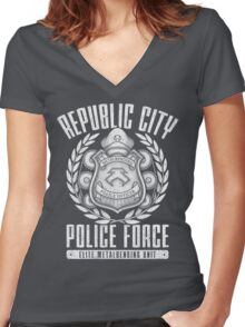 Avatar Republic City Police Force Women's Fitted V-Neck T-Shirt