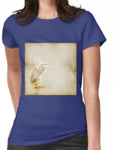 Antique look White Faced Blue Heron Womens Fitted T-Shirt