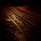 Night Tram tracks by Laurent Hunziker