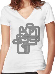 Vintage Vector Wave Women's Fitted V-Neck T-Shirt