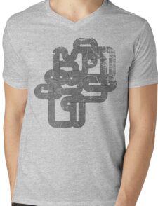 Distressed Vintage Vector Wave Mens V-Neck T-Shirt