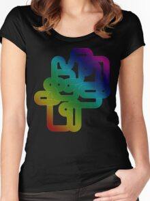Vintage Rainbow Vector Wave Women's Fitted Scoop T-Shirt