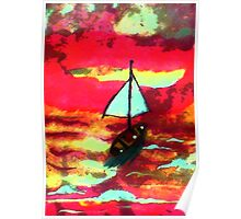 Sunset in a sail boat, watercolor Poster