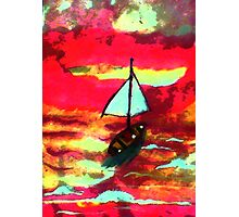 Sunset in a sail boat, watercolor Photographic Print