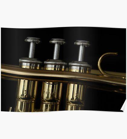 Three trumpet pistons Poster
