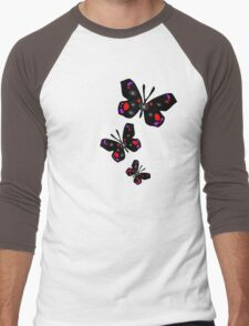 colorful butterfly vector graphic art Men's Baseball ¾ T-Shirt