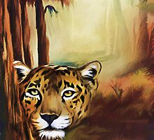 LEOPARD IN THE FORREST by ellenspaintings