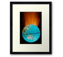 Globe with flames Framed Print