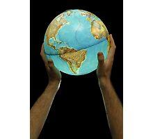 Man holding illuminated Earth globe Photographic Print
