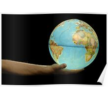 Man offering illuminated Earth globe Poster