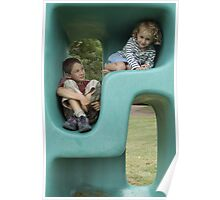 Boy (11-13) and girl (5-7) playing in plastic cube Poster