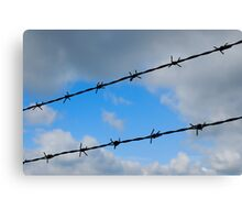 Barbed wires against cloudy sky Canvas Print