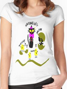 Funny kitty cat and bird vector art Women's Fitted Scoop T-Shirt