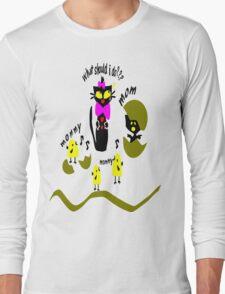 Funny kitty cat and bird vector art Long Sleeve T-Shirt