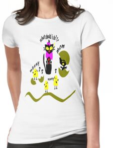 Funny kitty cat and bird vector art Womens Fitted T-Shirt