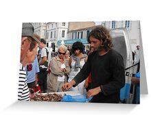 Selling shellfish, Ile de Re Greeting Card