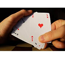 Man holding four Aces cards in hand Photographic Print