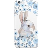 Rabbit and floral wreath iPhone Case/Skin