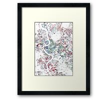 Rome map watercolor painting Framed Print