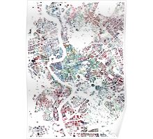 Rome map watercolor painting Poster