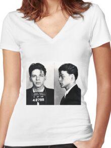 Frank Sinatra Mug Shot Women's Fitted V-Neck T-Shirt