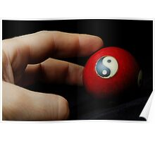 Hand on meditation ball with Yin Yang symbol Poster