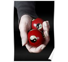 Woman holding Yin Yang balls in hand Poster