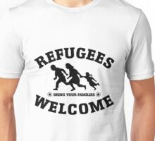 Refugees Welcome Peace Love Flüchtling Unisex T-Shirt