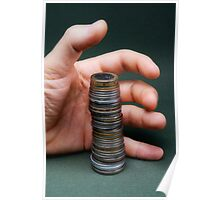 Hand surrounding stack of coins Poster