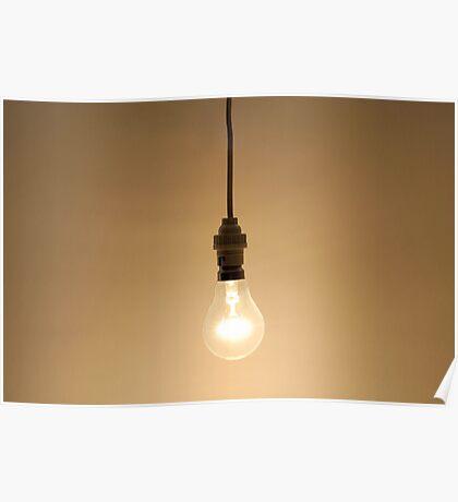 Bare hanging light bulb Poster