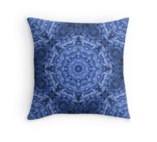 Blue Royale - Intricate Kaleidoscope Pattern Throw Pillow