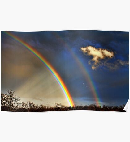 Double Rainbow With Anti-Crepuscular Rays Poster