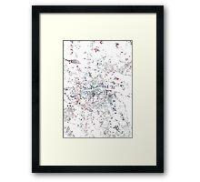 Dublin map watercolor painting Framed Print