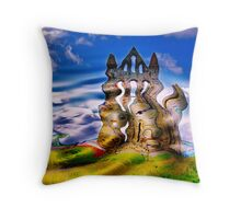 Abstract Whitby Abbey Throw Pillow