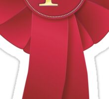 Red ribbon rosette 1st Sticker