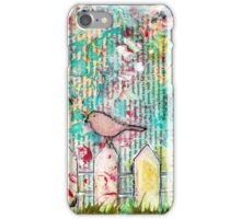 Bird on a White Picket Fence - Mixed Media  iPhone Case/Skin