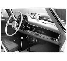 1957 Mercedes 300SL Original Owner Gull Wing - Black on Oxblood Poster