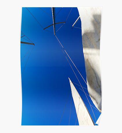 Sails on blue sky Poster