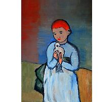 girl with dove after Picasso - iPhone Case by Kostas Koutsoukanidis