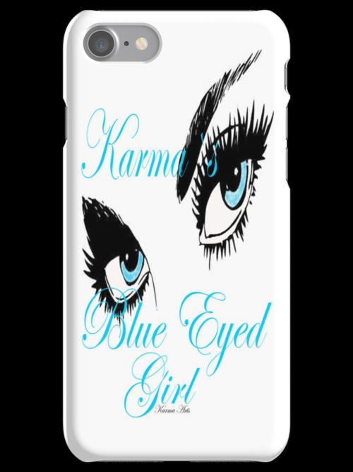 karmas blues eyed girl IPHONE CASE by Dee-Karma-Arts