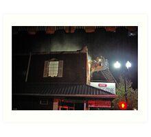 City Cafe Fire Night Shot #3 Art Print