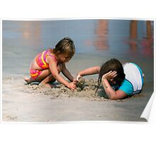 Beach Kids at Play Poster