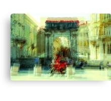 The Essence of Croatia - Red Motorbike in Pula Canvas Print
