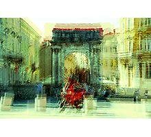 The Essence of Croatia - Red Motorbike in Pula Photographic Print