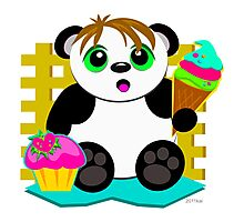 Cute Panda Who Loves Sweets Photographic Print