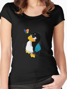 What are you doing, Tux? Women's Fitted Scoop T-Shirt